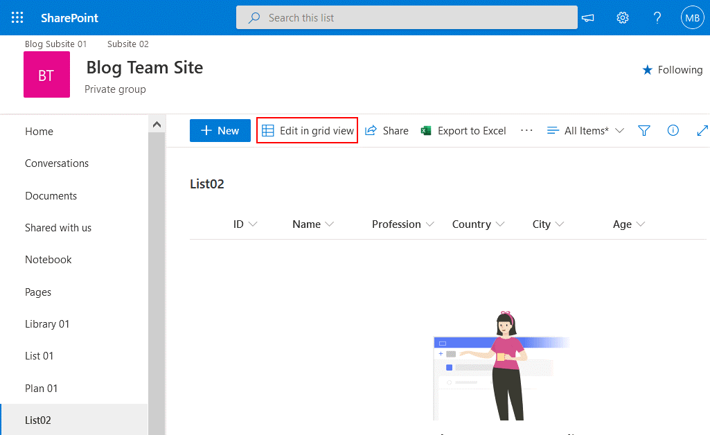 Import Excel into SharePoint list - edit in grid view