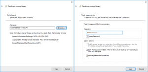Importing a certificate by using a Certificate Import Wizard