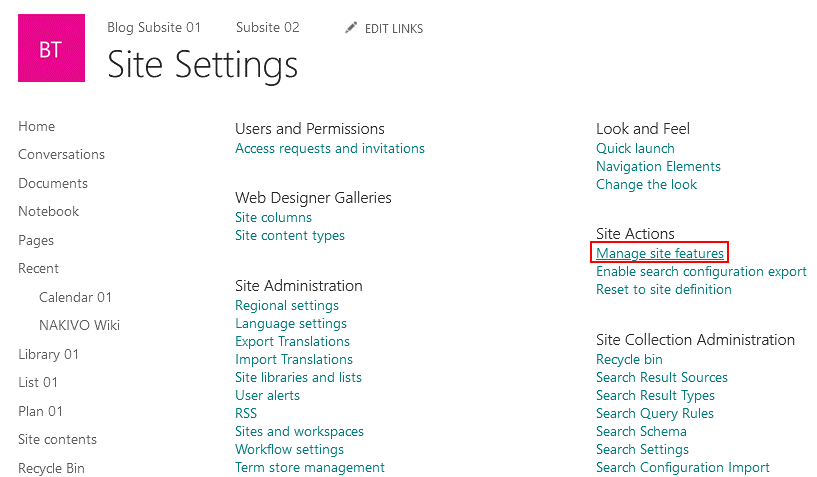 Managing site features in the SharePoint data management system