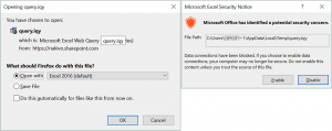 Opening a query file in Excel and confirmation of a security warning
