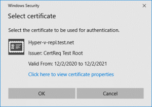SSL certificate request on a Hyper-V replica server