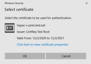 SSL certificate request on a main Hyper-V server