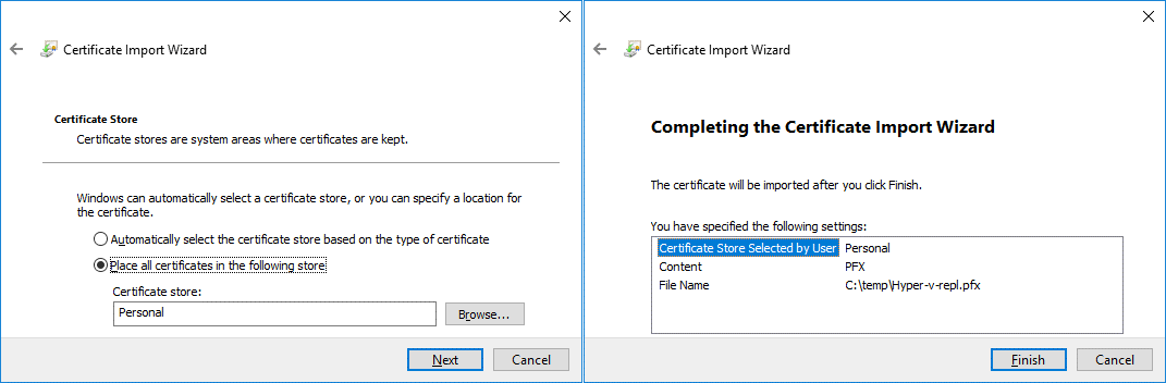 Selecting where to place imported certificates