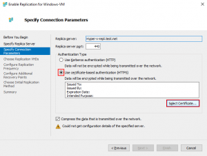 Specifying connection parameters to use certificate-based authentication