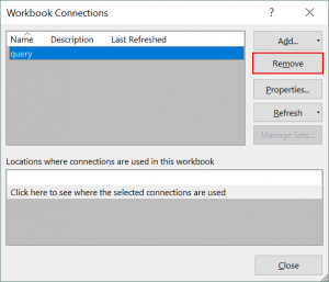 Terminating connection between Excel and SharePoint