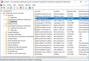 The Test Root certificate is copied to Trusted Root Certification Authorities