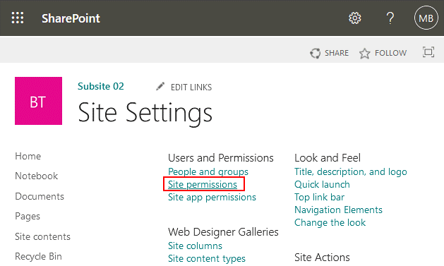 The document management system SharePoint – site settings and site permissions
