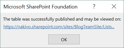 The table was successfully published as a SharePoint list