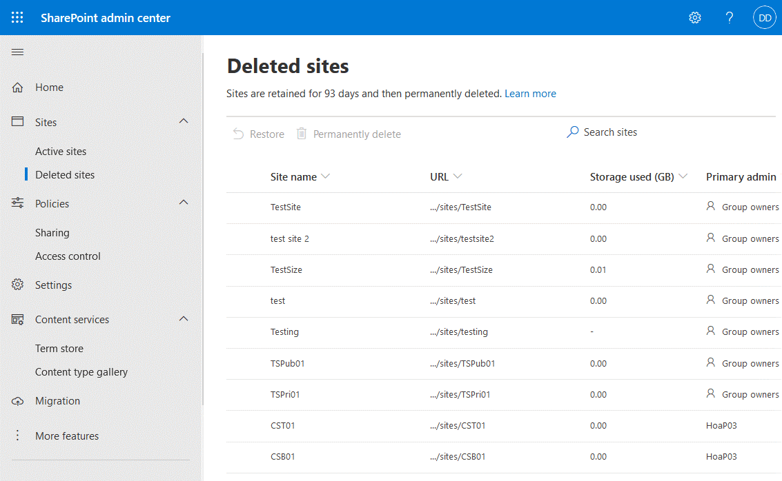A SharePoint administrator can recover deleted sites or delete them permanently