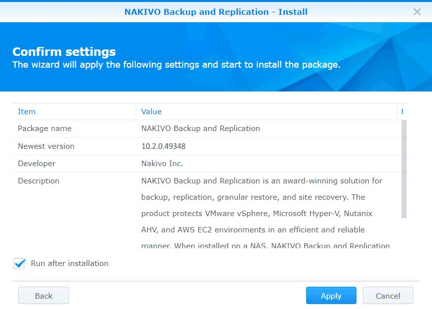 Applying settings to install NAKIVO Backup & Replication on Synology NAS