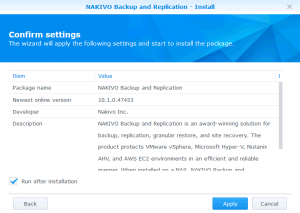Checking settings and finishing installation