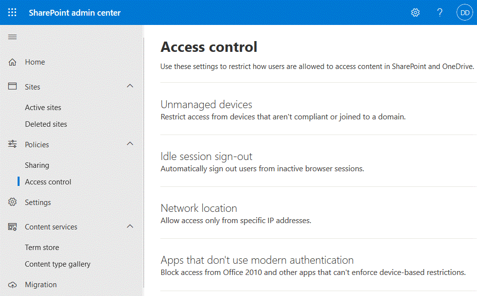 Configuring access control in the SharePoint admin center