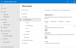Configuring content services and term store