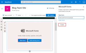 Creating a new form in Microsoft Forms