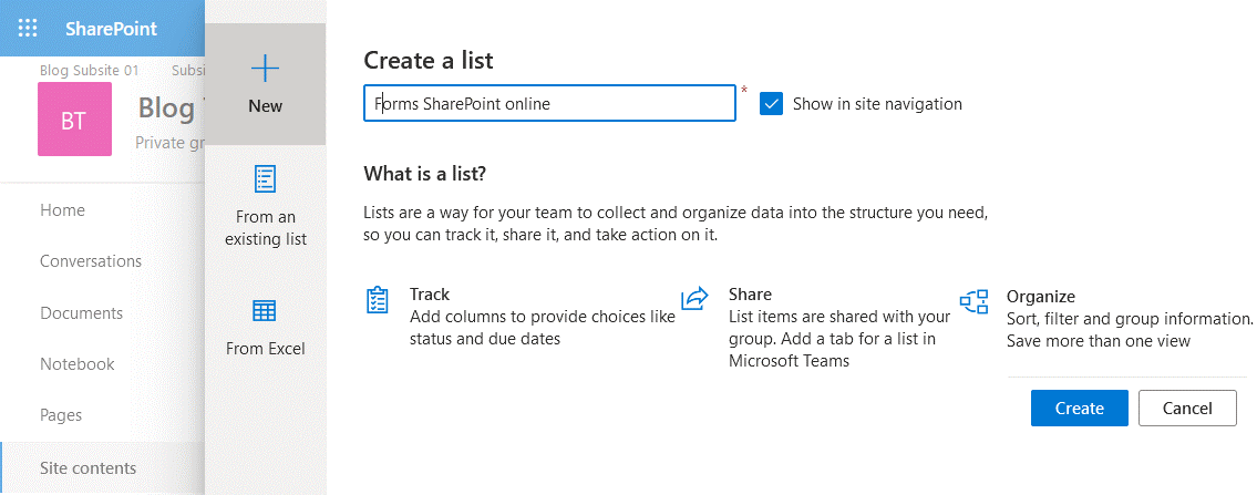 Creating a new list in SharePoint Online