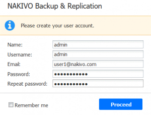 Creating a user account in NAKIVO Backup & Replication installed on NAS
