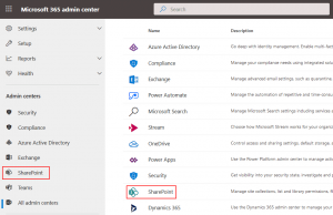 How to open the SharePoint admin center from the Office 365 admin center