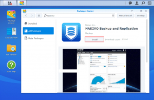 Installing NAKIVO Backup & Replication on Synology NAS in Package Center