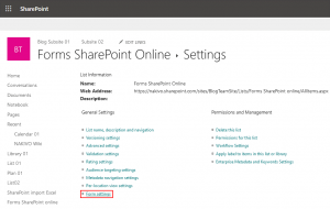 Opening Office 365 SharePoint forms settings