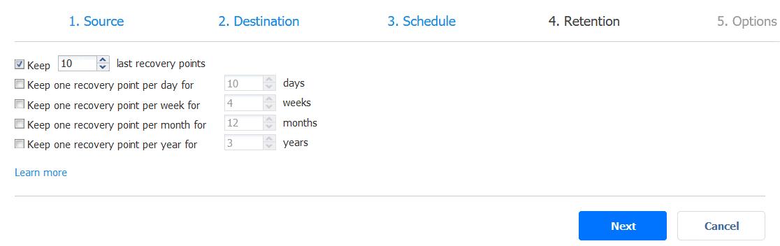Retention settings for a backup job