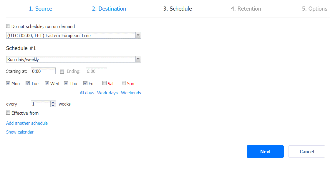 Scheduling settings for a backup job