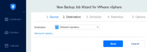 Selecting a backup repository located on NAS and using NAS for backup storage
