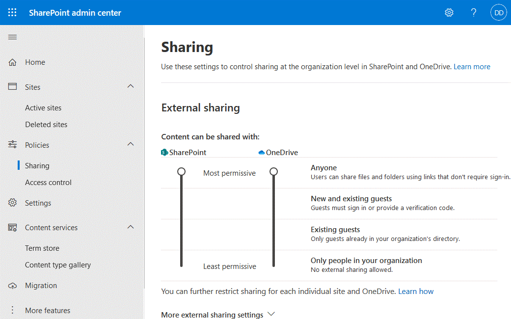SharePoint central administration – configuring sharing settings at the organization level
