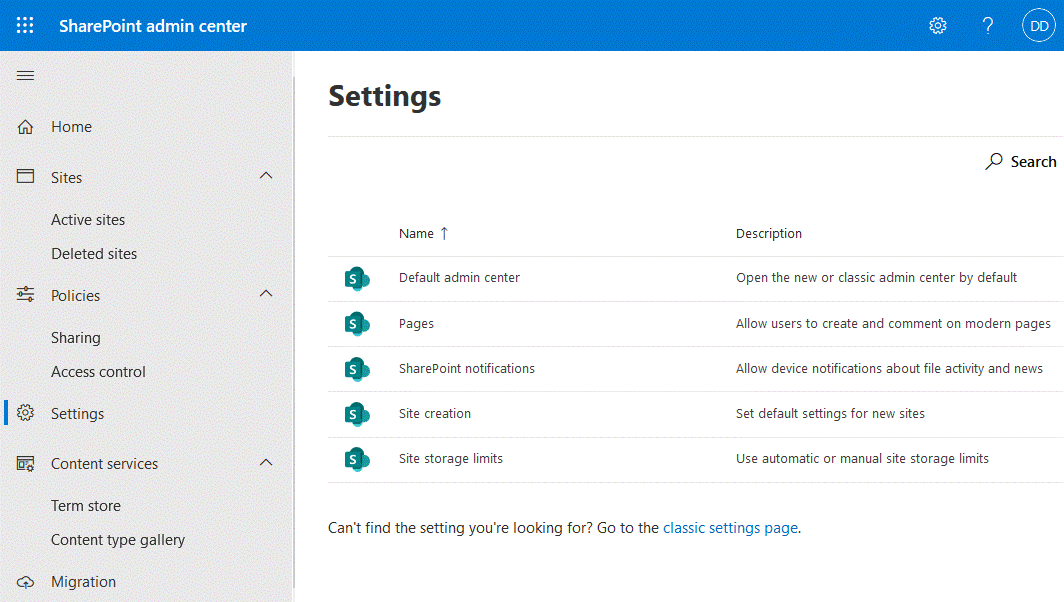 SharePoint central administration settings
