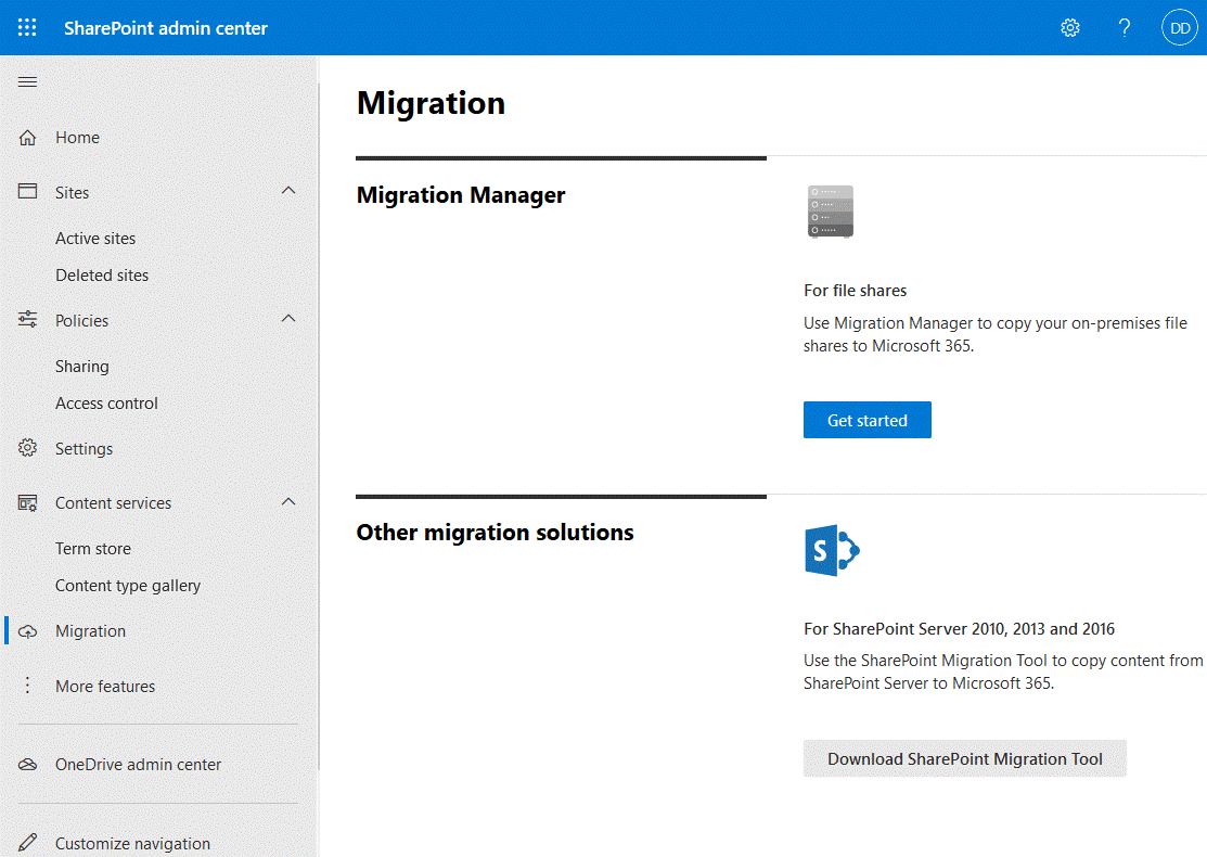 SharePoint migration options in the SharePoint admin center