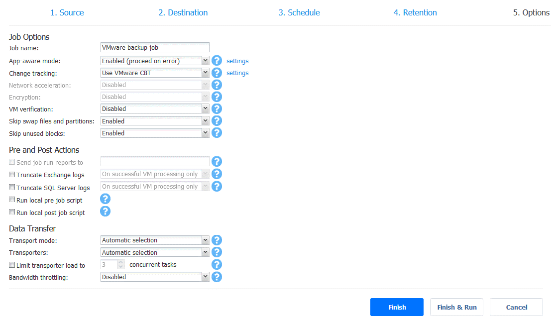 Synology incremental backup - backup job options with CBT enabled