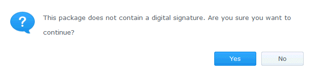 The notification message about missing digital signature