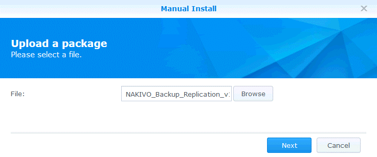 Uploading the package on Synology NAS
