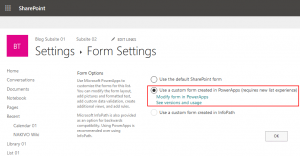 Using a custom form created in PowerApps