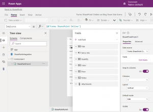 Viewing fields of the SharePoint forms in the web interface of Power Apps