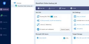 A SharePoint Online backup job is running