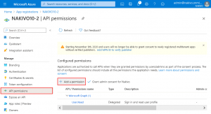 Adding API permissions for a registered application to allow backup of SharePoint for business and OneDrives