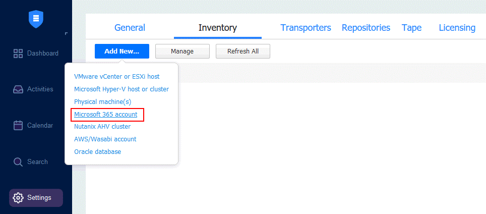 Adding a Microsoft 365 account to the inventory of NAKIVO Backup & Replication