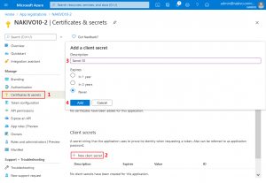 Adding a client secret in the Azure portal for the backup application