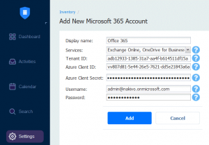 Adding a new Microsoft 365 account to protect Exchange Online, SharePoint and OneDrive