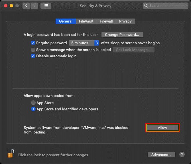 Allowing VMware applications in security and privacy options of macOS