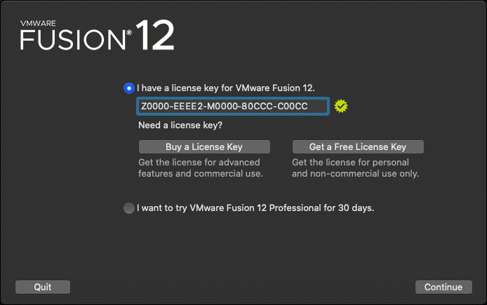 Choosing licensing options when installing VMware Fusion on macOS