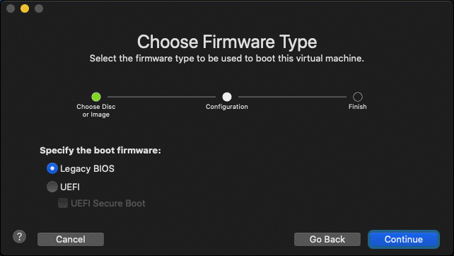Choosing the firmware type for a new VM in VMware Fusion