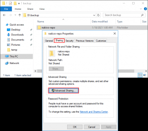 Configuring advanced sharing settings for a shared folder