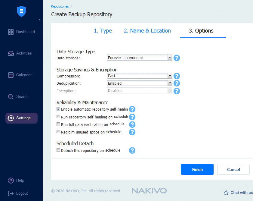 Configuring options for a backup repository