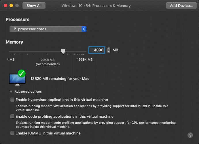 Configuring processor and memory settings for a VM in VMware Fusion