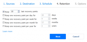 Configuring retention settings for a new SharePoint Online backup job