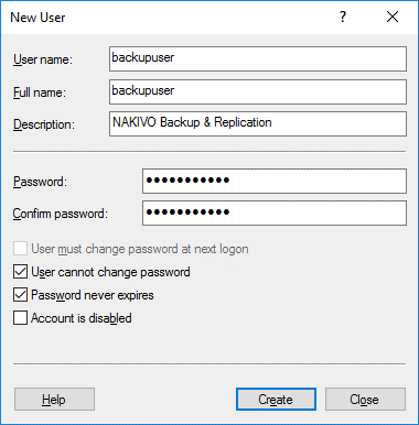 Creating a new user to access an SMB share