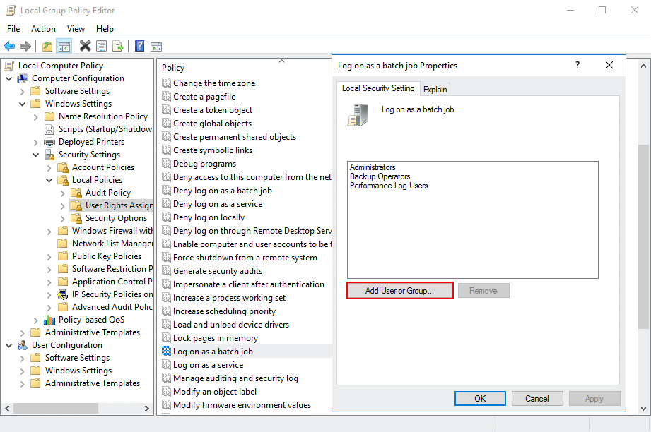 Editing permissions in the group policy editor