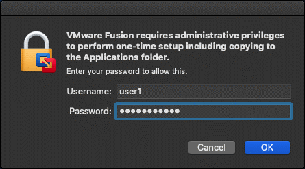Entering macOS user credentials to install Fusion