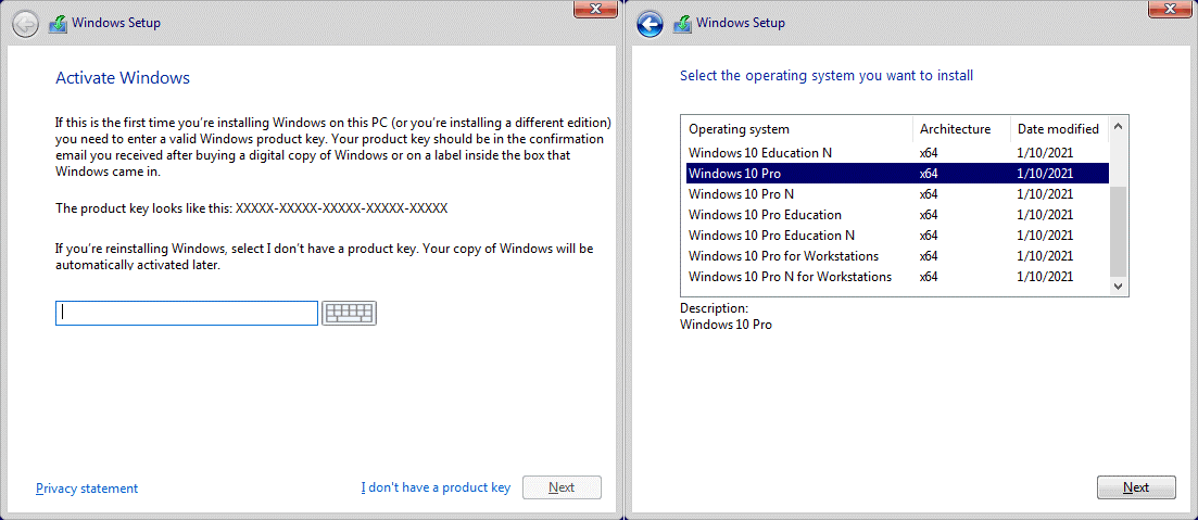 Entering the serial number and selecting the edition of Windows 10